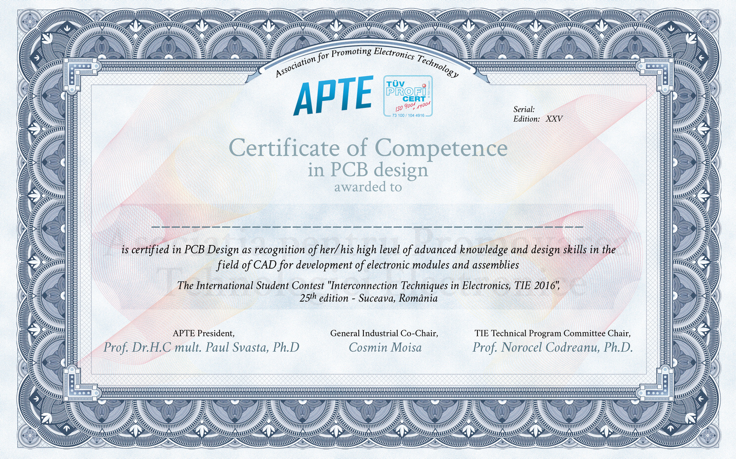 Model of Certificate of Competence in PCB design